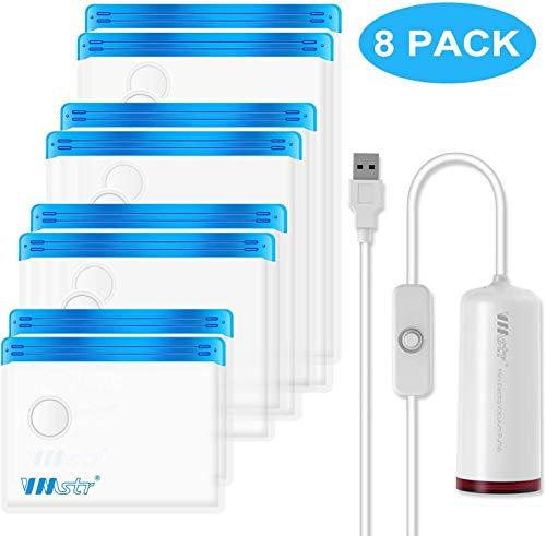 VMstr Vakuum Aufbewahrungsbeutel für die Reise mit Mini USB Vakuummaschine, 8 STÜCKE(S/M/L/XL) mittelgroße platzsparende Taschen für die Reise