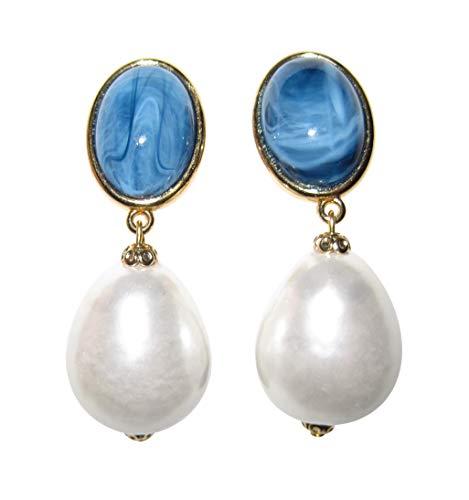Blaue, sehr große leichte Ohrstecker Ohrringe vergoldet Stein blau marmoriert Anhänger Perle weiß Tropfen Statement elegant Designer JUSTWIN
