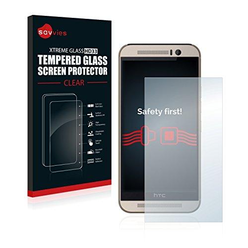Savvies Panzerglas kompatibel mit HTC One M9s - Echt-Glas, 9H Festigkeit, Anti-Fingerprint