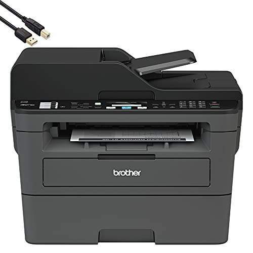 Brother MFCL2710DW All-in-One Wireless Monochrome Compact Multifunctional Laser Printer for Home Office- Print Copy Scan Fax, Auto Duplex Print, Up to 32 ppm, 50-Sheet ADF - BROAGE Print Cable