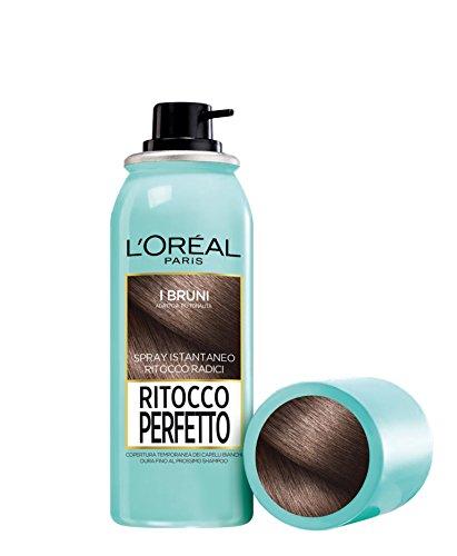 L'Oréal Paris Ritocco Perfetto Spray Ritocco Radici, Colorazione Ricrescita, Copre i Capelli Bianchi e Dura 1 Shampoo, 2 Bruno, 75 ml