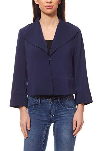 bruno banani Blazer schicker Damen Kurzblazer mit Fly-Away-Kragen Business-Blazer Jersey-Blazer Blau, Größe:40
