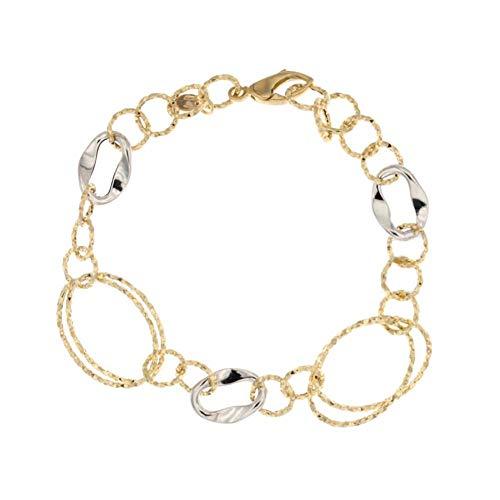 Pulsera de oro blanco y amarillo de 18 ct 750/1000 con óvalos y círculos martillados para mujer