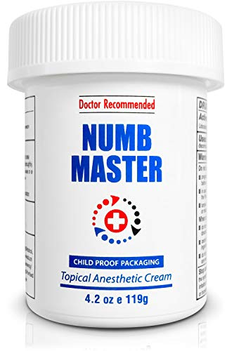 Numb Master 5% Lidocaine Topical , Maximum Strength Long-Lasting Pain Relief Cream, Fast Acting Topical Anesthetic Cream with Aloe Vera, Vitamin E, Lecithin with Child Resistant Cap 4.2oz