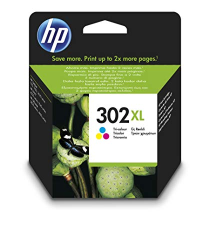 HP 302XL F6U67AE, Tricolor, Cartucho de Tinta de Alta Capacidad Original, compatible con impresoras de inyección de tinta HP DeskJet 1110,2130,3630; ENVY 4520; OfficeJet 3830,4650,5220,5230