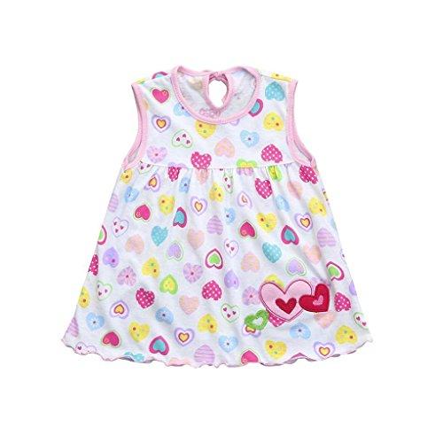 Kleid Baby Blumen Print Cartoon Weiß, Riou Babykleid Baby Trägershirt Kleid Kleinkind-Nette Baby-Baumwollblumen-Kind-Punkt-gestreifte T-Stücke kleiden T-Shirt Weste (0-24M, Weiß D)
