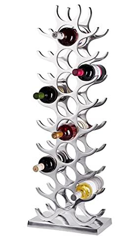 MichaelNoll Weinregal Flaschenregal Flasche Aluminium Silber Luxus - Weinständer, Regal Modern aus Metall - Flaschenhalter/Flaschenständer für Flaschen Sekt, Wein und Champagner - 101 cm XXL