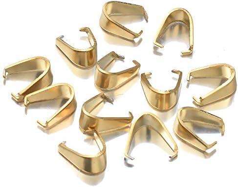 SUKPSY 100 Pcs 3x7 mm Stainless Steel Pinch Clip Bail Pendant Connectors Pendant Necklace Clasp product image