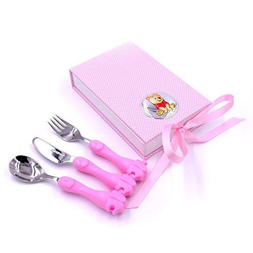 Disney Baby - Petit set de couverts Winnie l'Ourson - de voyage/idéal pour bouillie - en métal - détails argentés - cadeau pour bébé/petit enfant