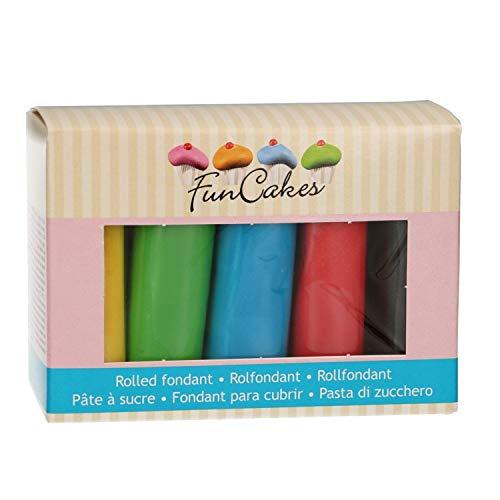 FunCakes Rolled Fondant Multipack Colores Esenciales 5x100g -pasta de azúcar