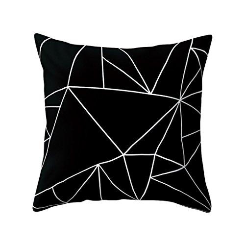 Preisvergleich Produktbild SWIDUUK Kissenbezug,  quadratisch,  schwarz und weiß,  geometrisches Muster,  mit Pfirsichhauteffekt