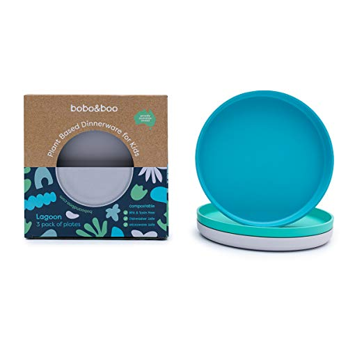 Bobo&Boo Colorful Plant-Based 7.5 inch Kids Plates for Toddler Eating – Set of 3, Melamine-Free And BPA-Free – Microwavable - Eco-Friendly Toddler Plate Set for Boys and Girls In a Lagoon Color Scheme