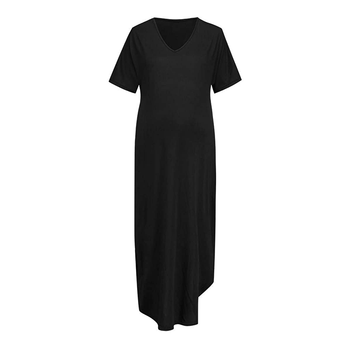 Genutery Women ? Womens Solid Color Maternity, Short Sleeve Open Fork Long Pregnancy Dresses V-Neck Plus Sizes Soft Sundress