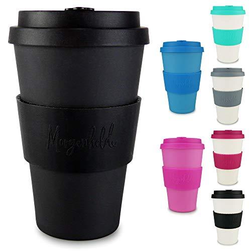 Morgenheld Dein trendiger Bambusbecher | Coffee-to-Go-Becher | Kaffeebecher mit Silikondeckel und Banderole in coolem Design, 400ml - Just Black