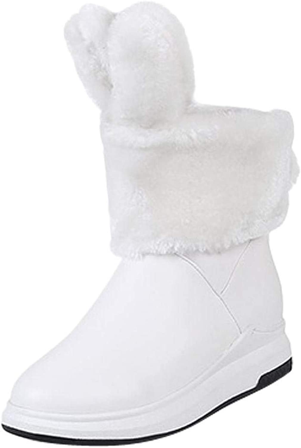 Gcanwea Women's Pompon Boots Breathable Fashion Winter Rubber Sole Warm Comfortable Rabbit Ears Cute Round Toe Girls Black 4.5 M US Pompon Boots