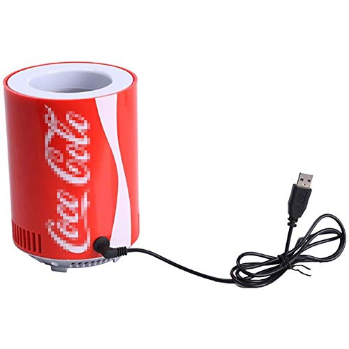Huachaoxiang Tragbare Auto Kühlschrank Coke Dosen Mini USB Kühlschrank Kühlschrank Getränkekühler Cooler Kühler Für Büro Schlafzimmer Schule,Rot