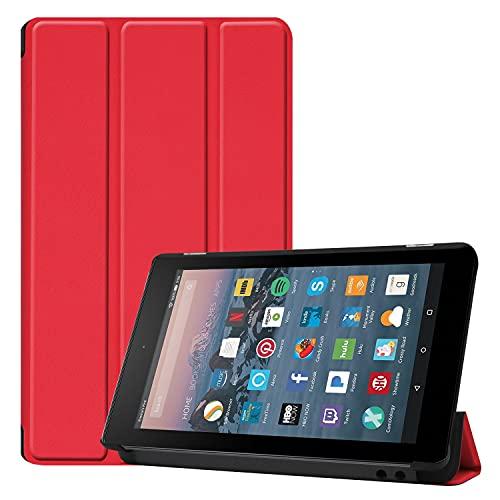 ZHANGHUI Funda protectora para tablet Fire de 7 pulgadas 2019/2017, funda ligera de tres pliegues, con soporte para PC, con triple pliegue y apagado automático, color rojo