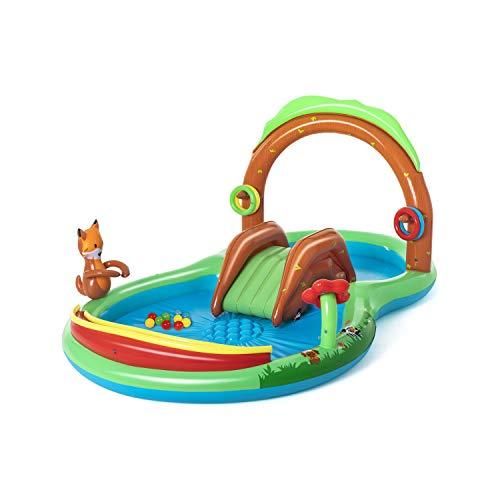 Bestway 53093 Wasserspielcenter Waldtiere mit Planschbecken 295 x 199 x 130 cm, Color