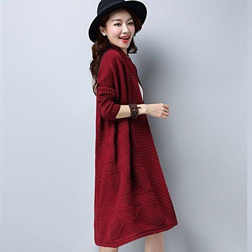 Xuanku Les Femmes Tricotée Chemise élégante Couleur Unie Grand Gilet Maille Femme Couleur Unie à Manches Longues à Moyen Et à Long Terme L,Wine rouge