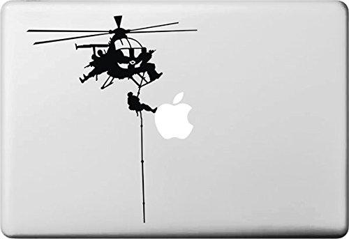 Vati Blätter Removable Kreative Rettungs-Hubschrauber Aufkleber Aufkleber Skin Art Schwarz für Apple MacBook Pro Air Mac 13