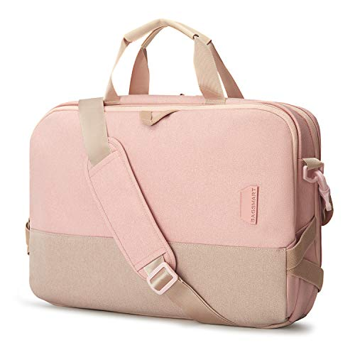 Laptop Bag,BAGSMART 15.6 Inch Laptop Shoulder Bag Office Bag for Women, Pink