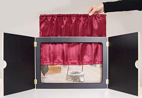 """Vorhang """"Mein Kamishibai"""" aus rotem Satin, geschmeidig und hochglänzend: Sorgt für authentische Theateratmosphäre oder Kinoflair (Zubehör für das Erzähltheater Kamishibai)"""
