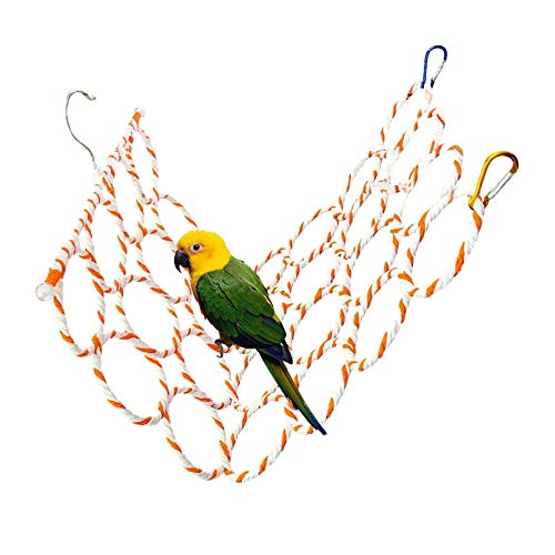 """Bird Hemp Rope Net Swing,Parrot Perch Climbing Rope Ladder,Hammock Hanging on Parakeet Cage wiht 2 Hooks,Chew Toys for Greys Cockatoo,Cockatiel,Conure,Lovebirds,Canaries,Little Macaw 13.8"""" x 23.6"""""""