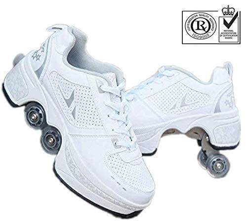 FLY FLU Schuhe Mit Rollen Skateboardschuhe,Inline-Skate,2-in-1-Mehrzweckschuhe,Verstellbare Quad-Rollschuh-Stiefel-Männliche Und Weibliche Paare 35-43EU,White-37