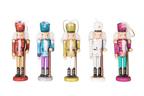 Clever Creations - Glitzernde Nussknacker-Anhänger für den Weihnachtsbaum - aus Holz - perfekt für jeden Weihnachtsbaum - mit Bändern zum Aufhängen - Rot, blau, weiß, gelb und rosa - 15,2 cm - 5 Stück