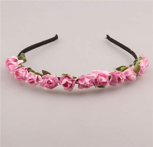 SSB-TOUDAI, Mignon Rose Fleur Couronne Festival Bandeau for Les Femmes Chapeaux De Mariage Guirlande Floral Hairband Accessoires (Color : Pink)