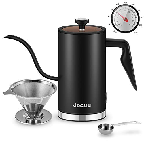 Gooseneck Electric Kettle, Jocuu Electric Pour-Over Kettle with Thermometer, Ultra Fast Boiling Water kettle for Coffee Tea Brewing, Auto Shut-off , 0.5L, with Coffee Filter and Spoon, Matte Black
