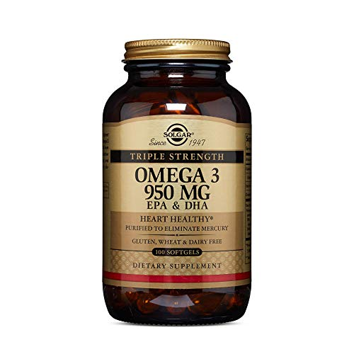 Solgar Triple Strength Omega-3 950 mg, 100 Softgels - Supports Cardiovascular, Joint & Skin Health - Heart Healthy Supplement - Essential Fatty Acids - Non GMO, Gluten Free, Dairy Free - 100 Servings