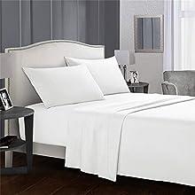 Liford Juego de sábanas de Lujo de 4 Piezas, 100% Microfibra de poliéster, cómoda sábana Bajera Ajustable, Suave, Transpirable, Resistente a Las Arrugas y a la decoloración (Blanco, King)