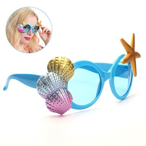 LUOEM Hawaii Brillen Sonnenbrille Tropical Beach Party Kostüm Neuheit Phantasie Rahmen Sea Shell Luau Party Zubehör