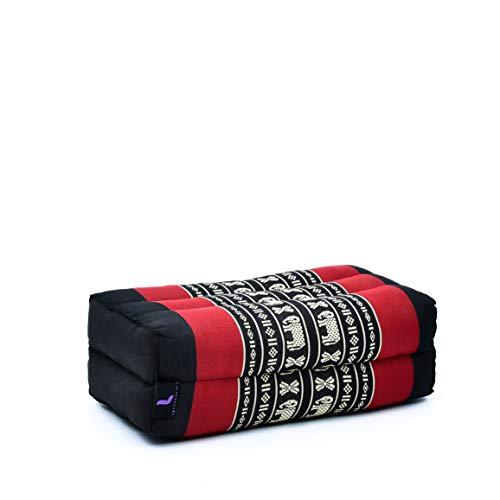 Leewadee Piccolo Blocco per Yoga: Cuscino da Pilates Rettangolare e Strumento da Meditazione, Cuscino da Terra in kapok Naturale, 35 x 18 x 12 cm, Nero Rosso