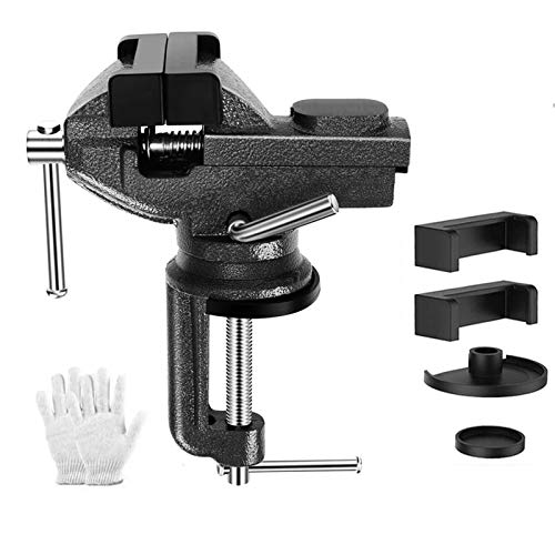 RIGHT WAY Bench Vise Home Vise Universal Rotate 360° Work Clamp-On Vise, 3.2