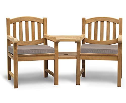 Jati Kennington Teak Love Seat - Tete a Tete Companion Bench including Taupe Cushions Brand, Quality & Value