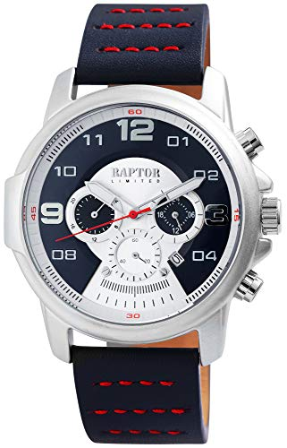 Raptor Limited Herren-Uhr Echt Leder Chronograph Leuchtzeiger Analog Quarz RA20281 (dunkelblau)