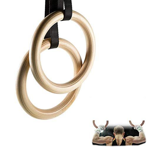 Gymnastikringe,Holz Turnringe Mit Justierbarem Langen Schnallen Straps ,FüR Krafttraining KlimmzüGe Und KöRpergewichtstraining, Suspensionstraining