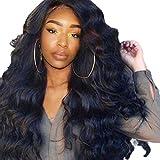 Dissme Perruque Afro Side Split Long Cheveux Bouclés Noir Fluffy Grande Vague Perruque Cheveux Ordinaires Net Elastique Perruque 31 inches/80cm