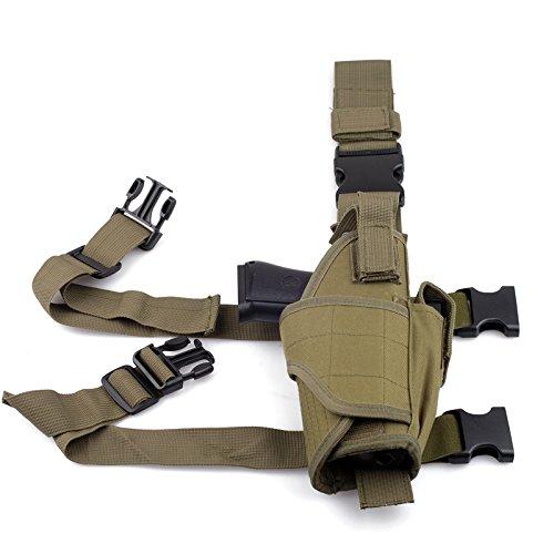 CISNO Drop Leg Adjustable Right Handed Tactical Thigh Pistol Gun Holster (Black) (Army Green)