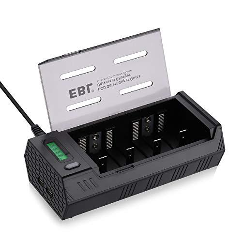 EBL chargeur écran LCD, 4 x AA ou AAA et formats C, D et 9V