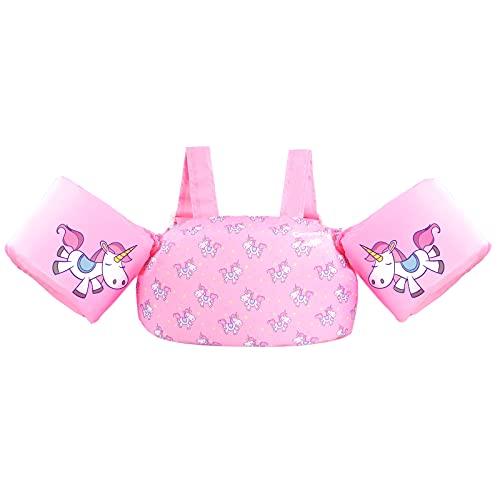 Chaleco de natación para niños con correas de brazo, chaleco de natación con arnés para el hombro, chaqueta de entrenamiento para niños de 2 a 6 años (ciervo rosa)