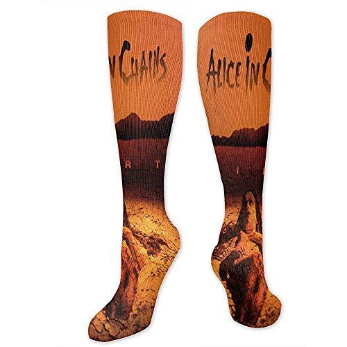 Alicia en Cadenas, calcetines largos a rayas por encima de la rodilla y muslo, calcetines altos