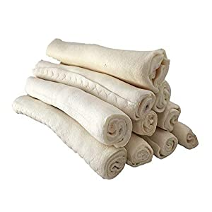 """123 Treats – Premium Rawhide Retriever Rolls for Dogs 9-10"""" (36 Count) All-Natural Grass-Fed Free-Range Hand Rolled Beef Dog Bones High-Protein Healthy Chew Treats to Improve Pet Dental Hygiene"""