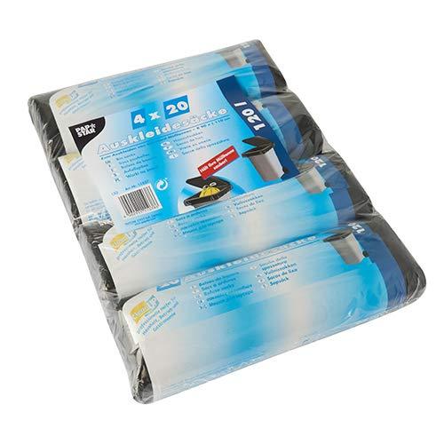 PAPSTAR 80 Auskleidesäcke für Mülltonnen 120 l 110 cm x 90 cm schwarz, Sie erhalten 80 Stück