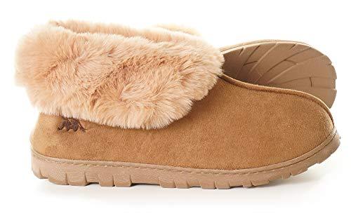 EuropeanSoftest Women's Micro Suede Faux Fur Fleece Lined Cozy 80-D High-Density Memory Foam Slipper...
