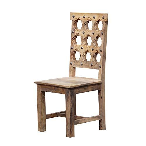 Casa Moro Indischer Holzstuhl Bari braun 45x45x102 cm aus massiv Mangoholz weiß gekalkt mit handgeschnitzten Rücken im Kolonialstil | Esszimmerstuhl & Wohnzimmerstuhl | CA404045