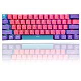 GTSP 61 PBT Keycaps 60 Percent, Ducky One 2 Mini Keycaps OEM Profile RGB Keycap Set with Key Puller for Cherry MX Switches GK61/RK61/Anne pro 2/Poker Mechanical Gaming Keyboard, Only keycaps(Pink)