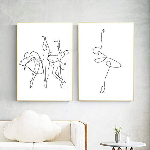 nr Abstracte Ballerina Print One Line lichaam tekening kunst canvas schilderen zwart wit kunstwerk afbeelding dance poster girl room muur decor -50x70cm frameloos